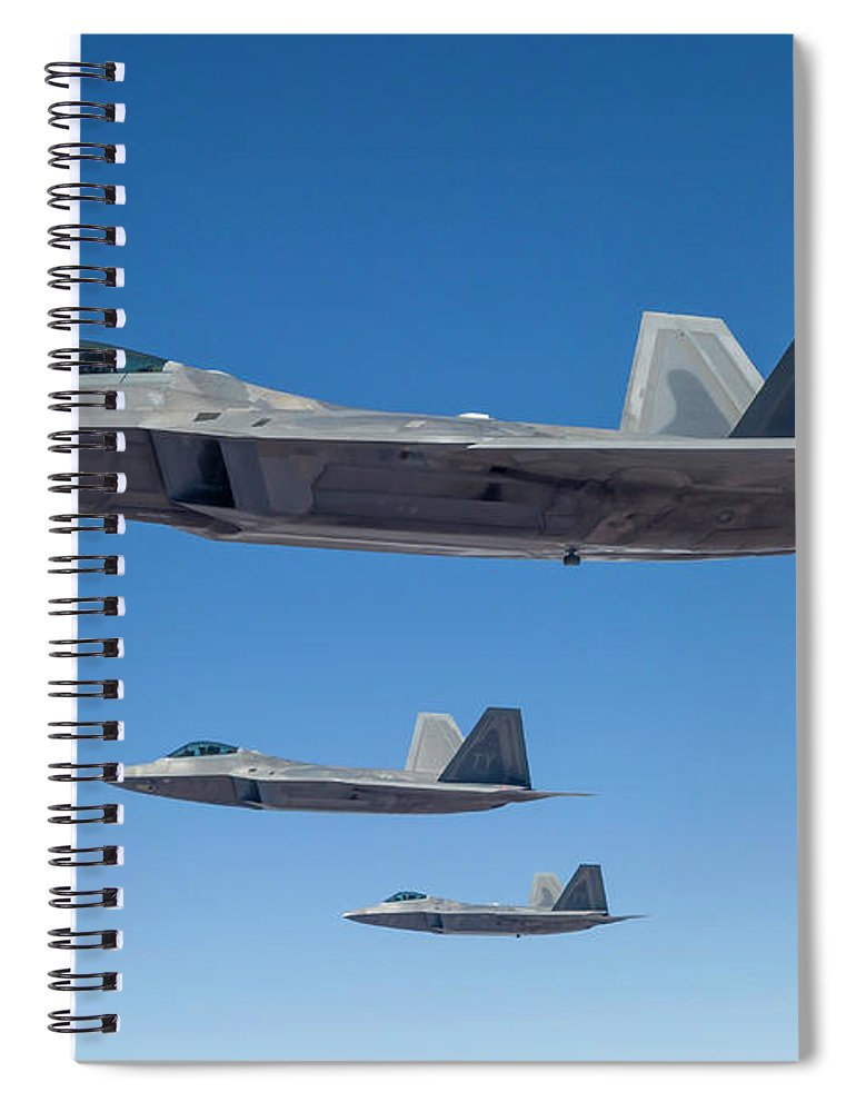 Formation Flying Spiral Notebook featuring the photograph Three U.s. Air Force F-22 Raptors by Rob Edgcumbe/stocktrek Images