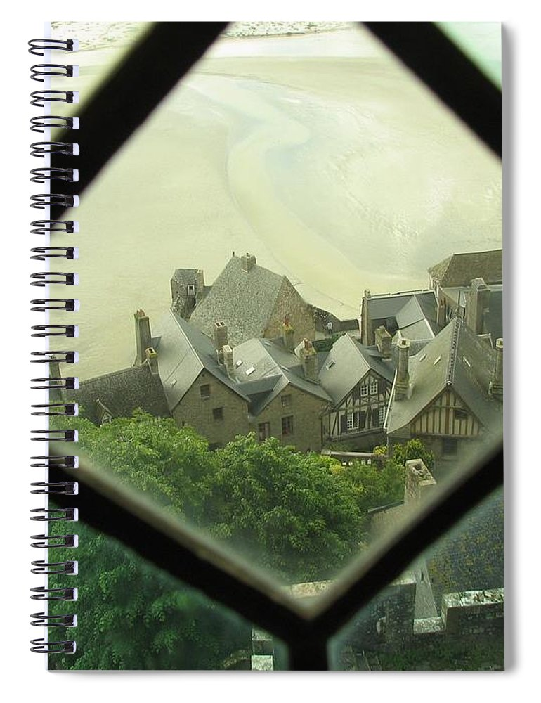 Le Mont St-michel Spiral Notebook featuring the photograph Through a Window to the Past by Mary Ellen Mueller Legault