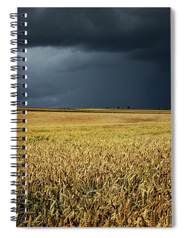 Scenics Spiral Notebook featuring the photograph Thunderstorm Clouds Over Wheat Field by Avtg