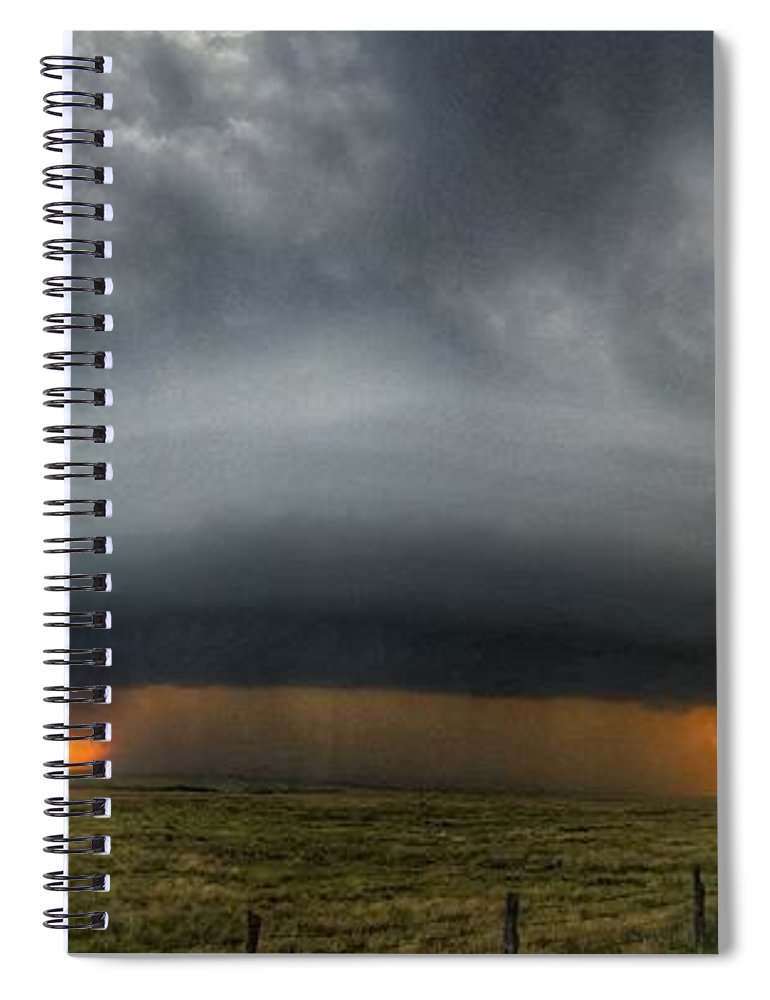 Problems Spiral Notebook featuring the photograph Thunderstorm Over Grassy Field by Brian Harrison / Eyeem