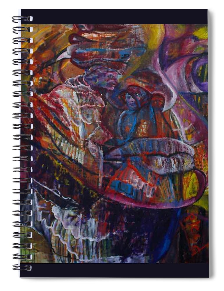 African Women Spiral Notebook featuring the painting Tikor Woman by Peggy Blood