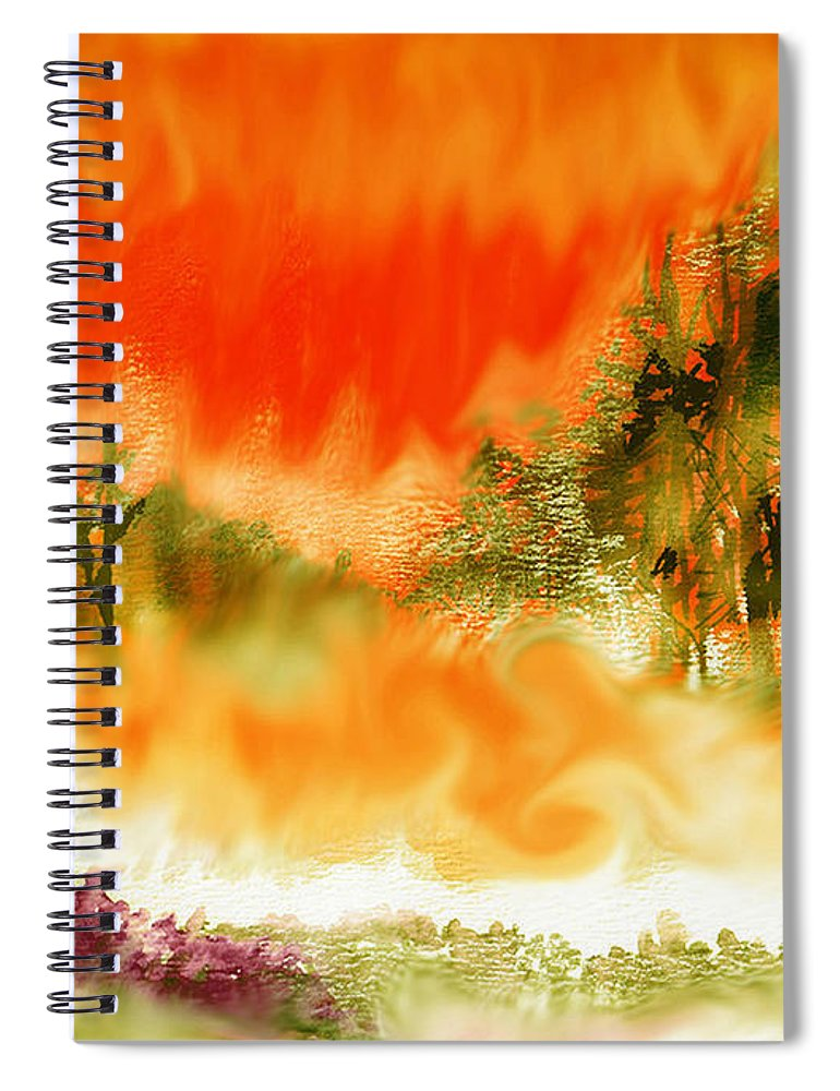 Timber Blaze Spiral Notebook featuring the mixed media Timber Blaze by Seth Weaver