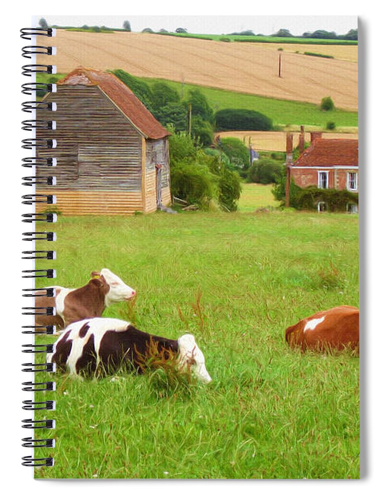 Ox Spiral Notebook featuring the painting Time To Rest by Inspirowl Design