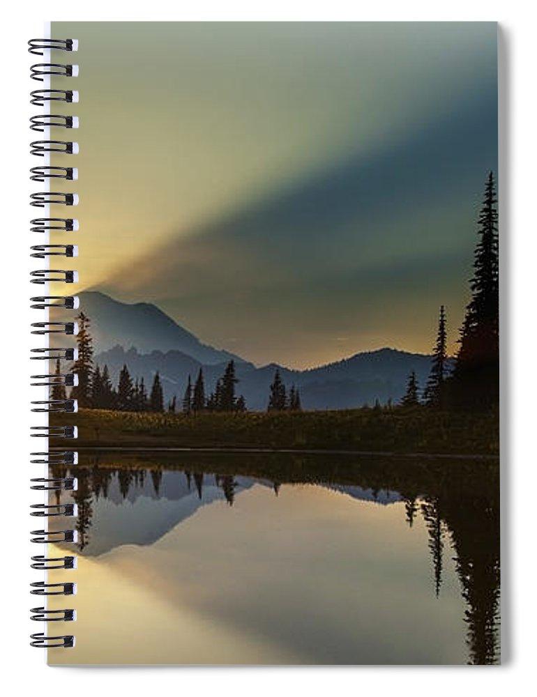 Rainier Spiral Notebook featuring the photograph Tipsoo Rainier Sunstar by Mike Reid