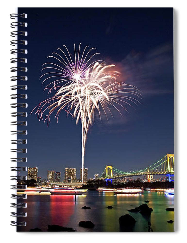 Firework Display Spiral Notebook featuring the photograph Tokyo Bay Fireworks by Photography By Zhangxun