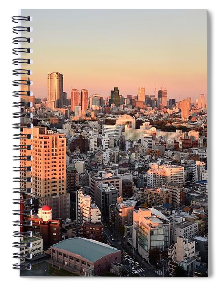 Tokyo Tower Spiral Notebook featuring the photograph Tokyo Cityscape At Sunset by Keiko Iwabuchi