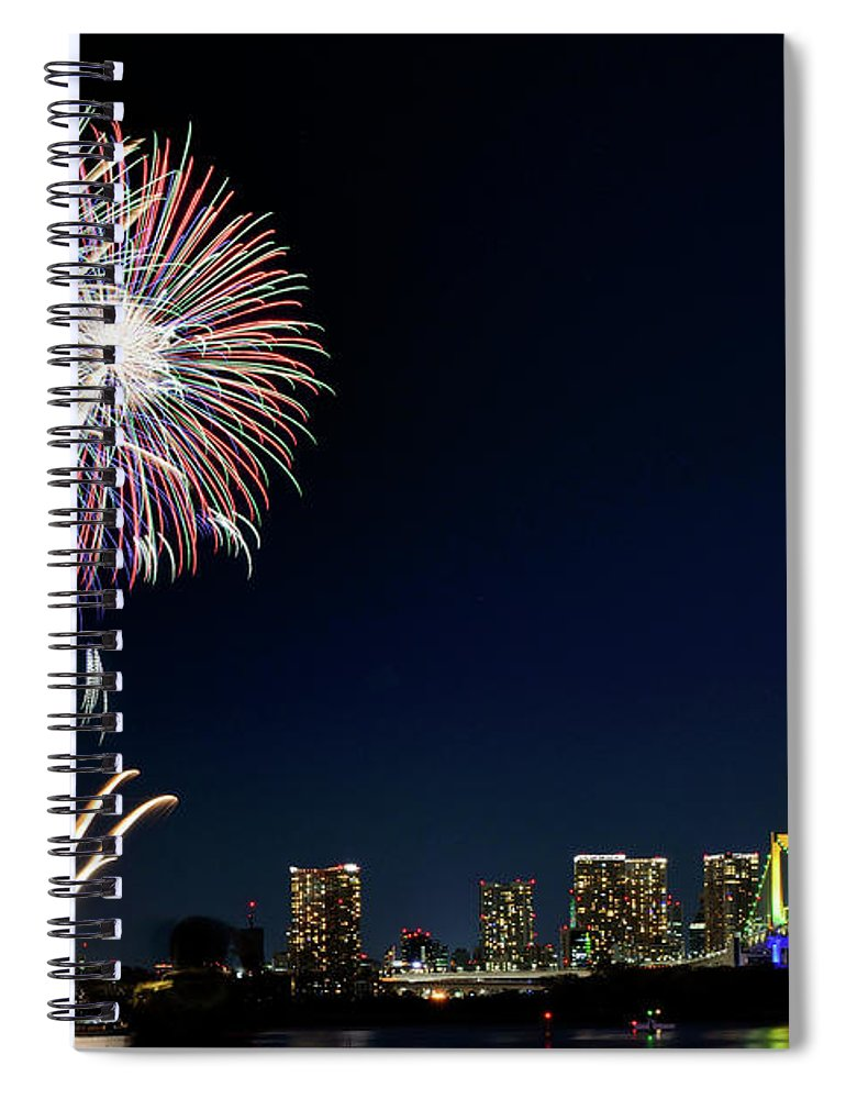 Firework Display Spiral Notebook featuring the photograph Tokyo Fireworks by Vladimir Zakharov