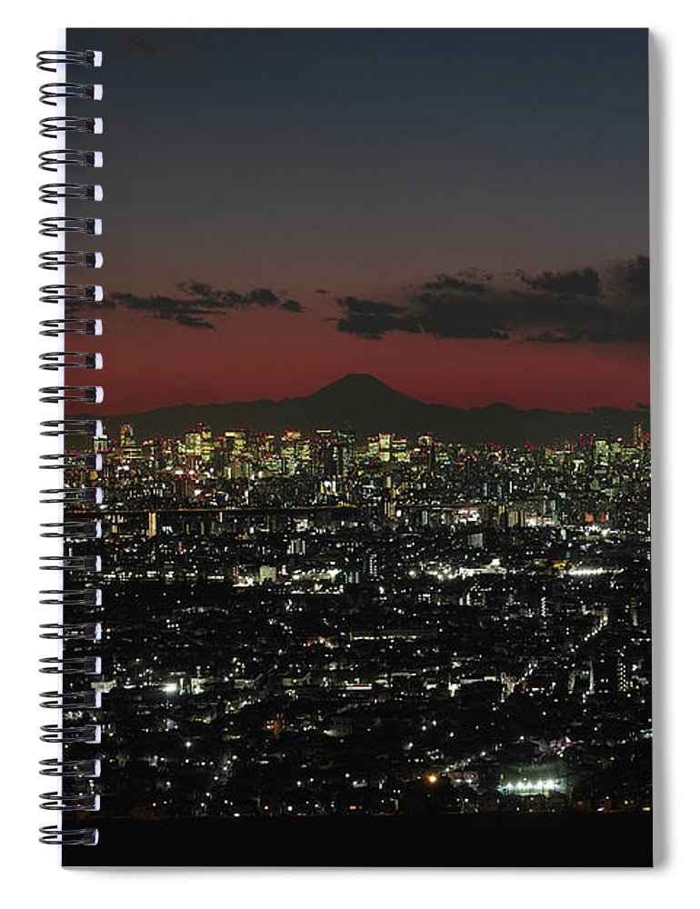 Tokyo Tower Spiral Notebook featuring the photograph Tokyo Skytree, Fuji, And Tokyo Tower by I Love Photo And Apple.
