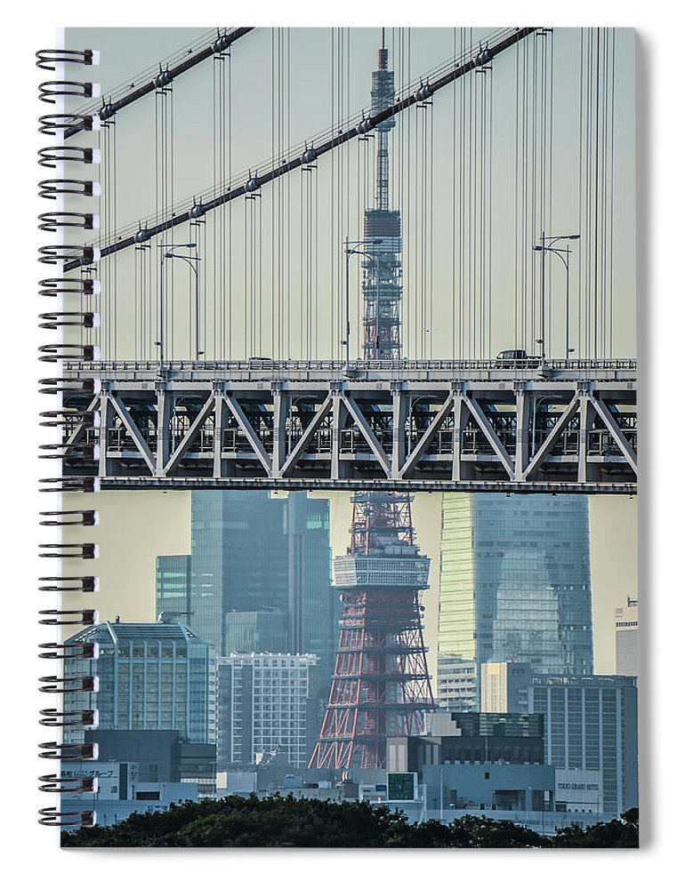 Tokyo Tower Spiral Notebook featuring the photograph Tokyo Tower And Rainbow Bridge by Image Courtesy Trevor Dobson