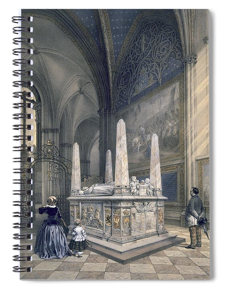Uppsala Cathedral Spiral Notebook featuring the drawing Tomb Of Gustav I In Uppsala Cathedral by Karl Johann Billmark