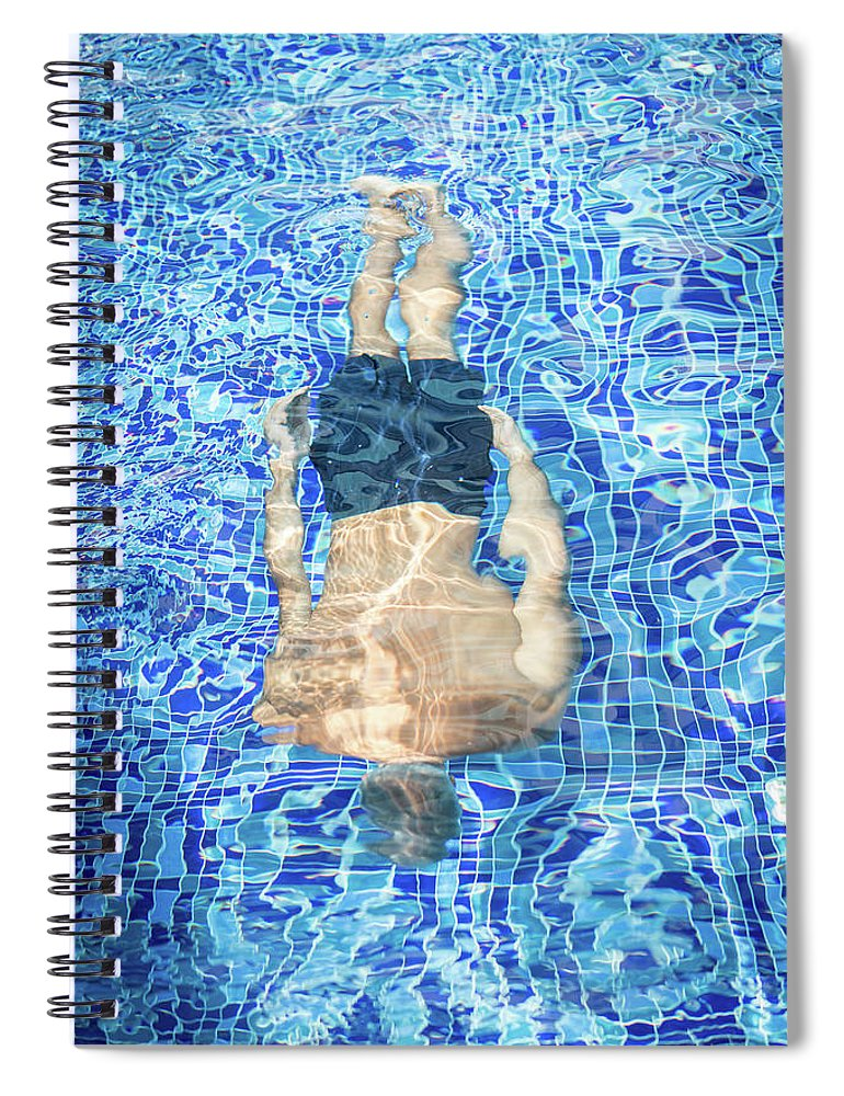 Underwater Spiral Notebook featuring the photograph Top View Of Man Diving by Jasmin Merdan