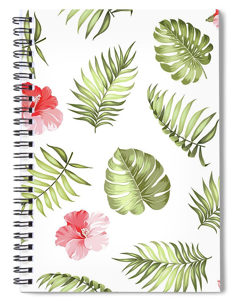 Tropical Rainforest Spiral Notebook featuring the digital art Topical Palm Leaves Pattern by Kotkoa