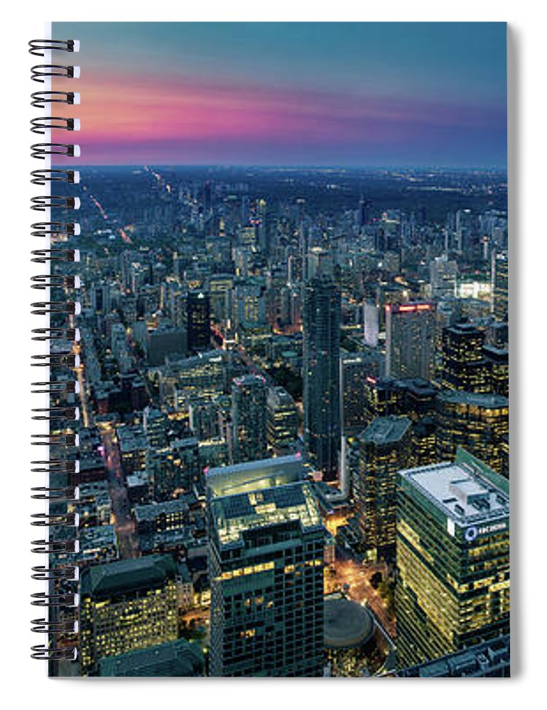 Downtown District Spiral Notebook featuring the photograph Toronto Downtown City At Night by D3sign
