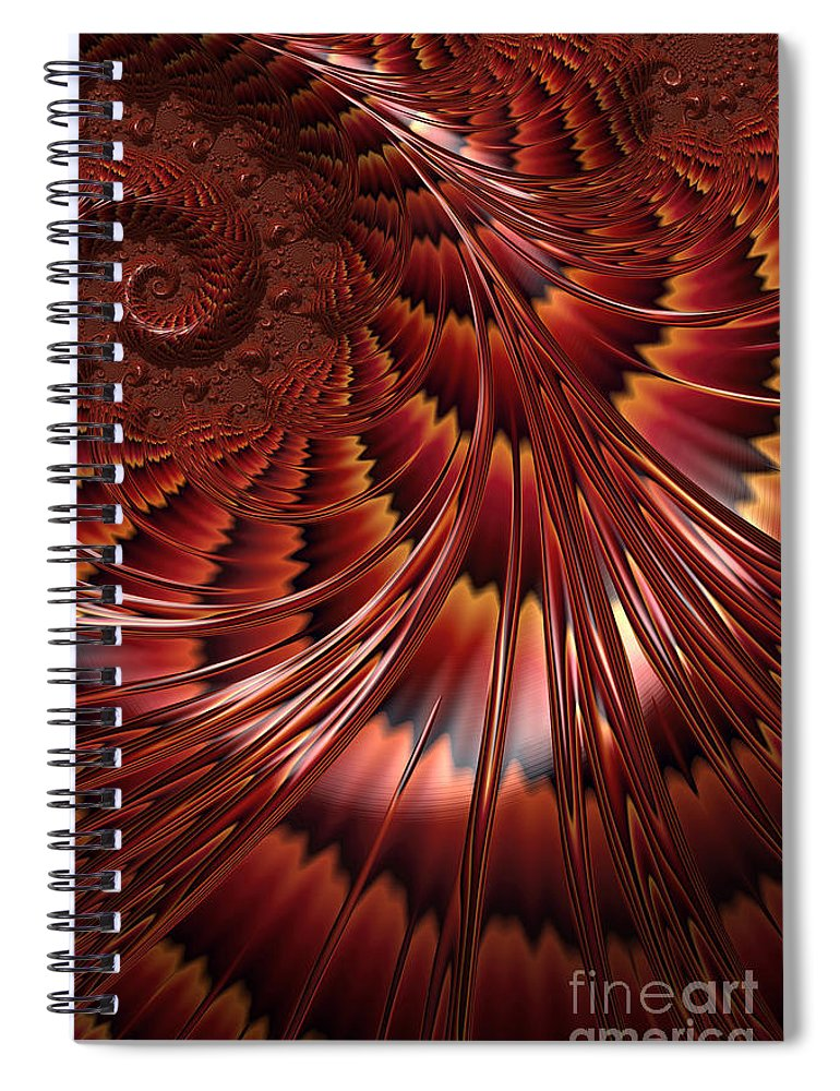 Abstract Shell Spiral Notebook featuring the digital art Tortoiseshell Abstract by John Edwards