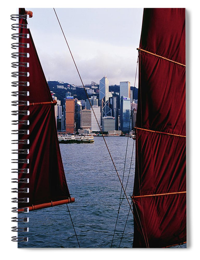Chinese Culture Spiral Notebook featuring the photograph Tourist Boat Junk Sails Framing by Richard I'anson
