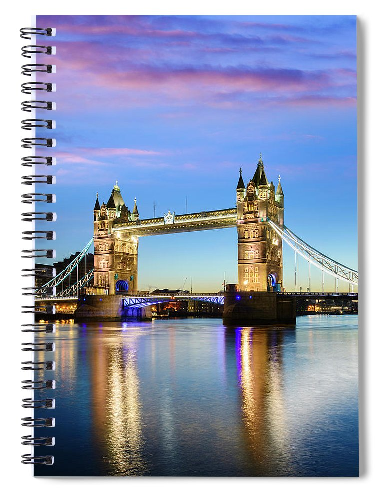 Downtown District Spiral Notebook featuring the photograph Tower Bridge Located In London by Deejpilot