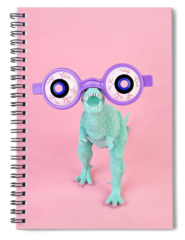 Purple Spiral Notebook featuring the photograph Toy Dinosaur With Spooky Glasses by Juj Winn