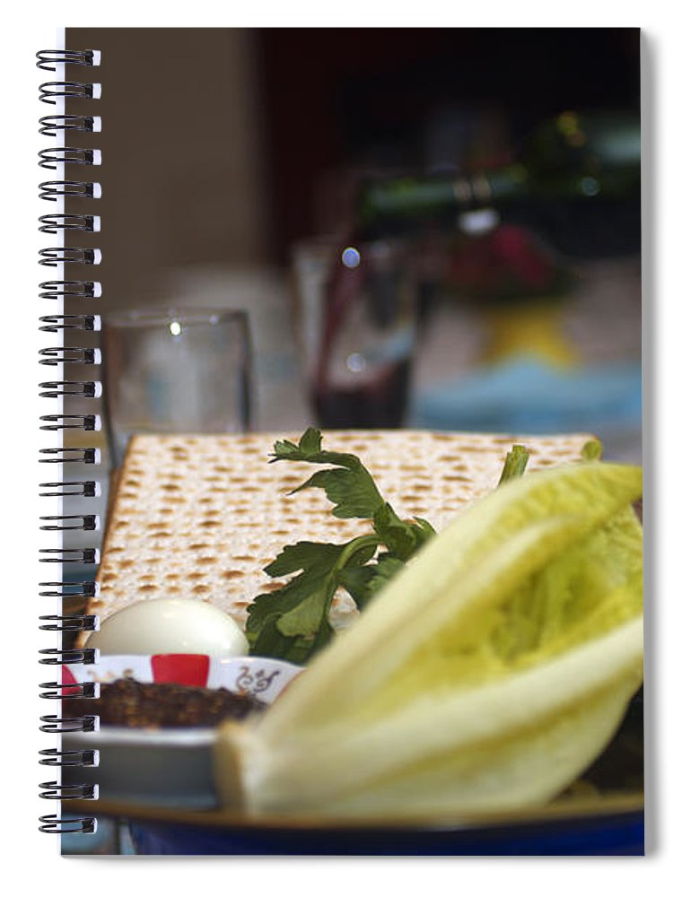 Psi Spiral Notebook featuring the photograph Traditional Sedder Table by Ilan Rosen