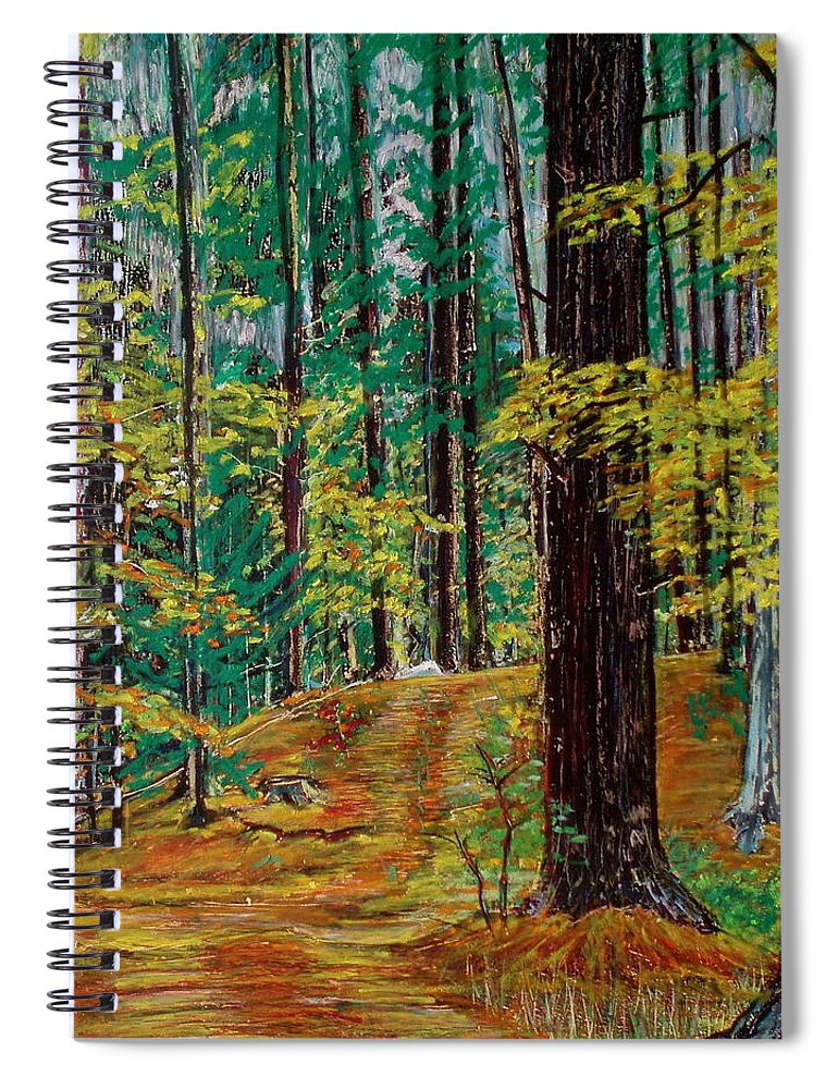 New Hampshire Spiral Notebook featuring the pastel Trail At Wason Pond by Sean Connolly