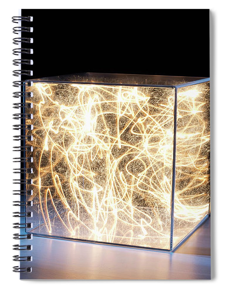 Block Shape Spiral Notebook featuring the photograph Trail Of Bright Light In Box by Pm Images