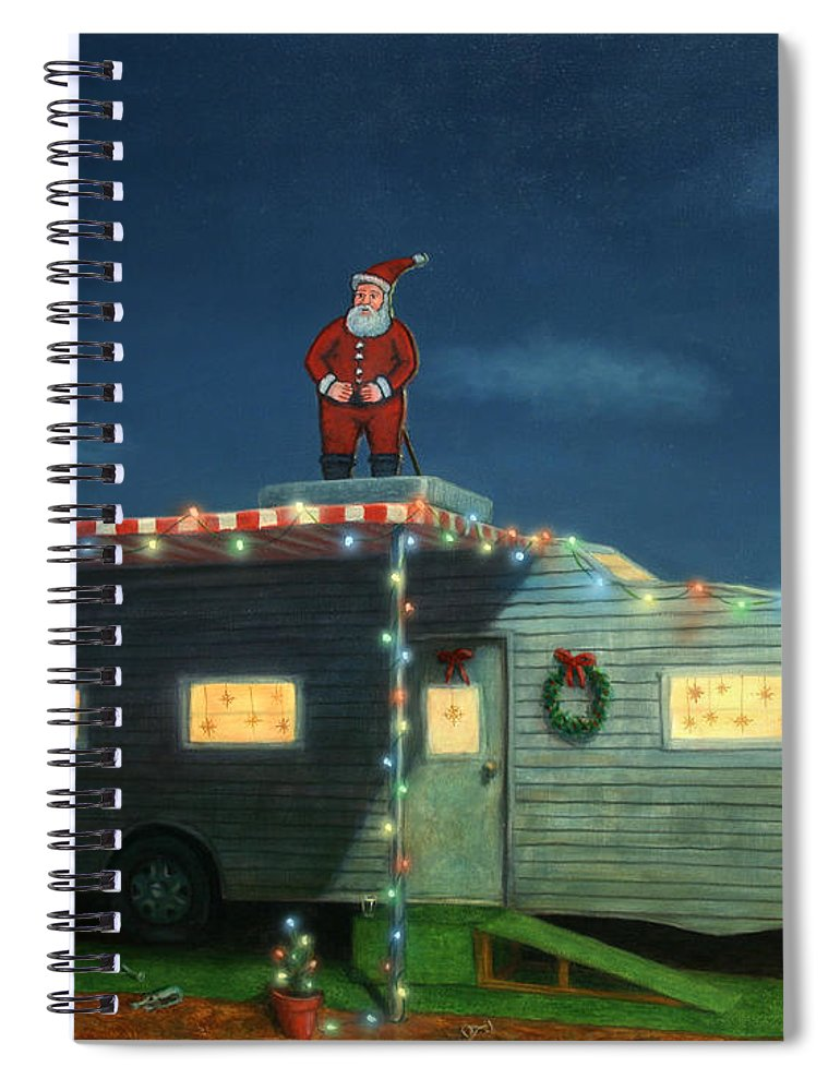 Christmas Spiral Notebook featuring the painting Trailer House Christmas by James W Johnson
