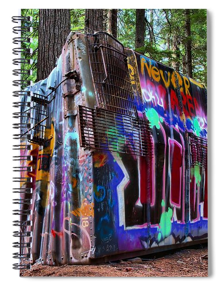 Train Wreck Spiral Notebook featuring the photograph Train Wreck Art In The Forest by Adam Jewell