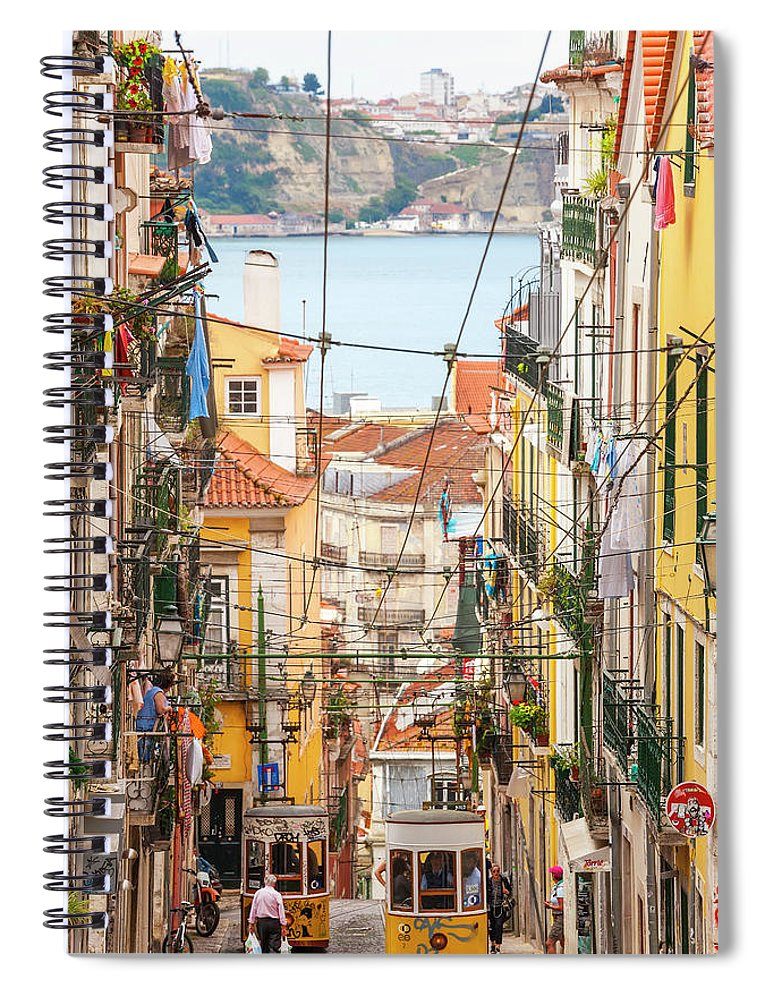 People Spiral Notebook featuring the photograph Tram, Barrio Alto, Lisbon, Portugal by Peter Adams