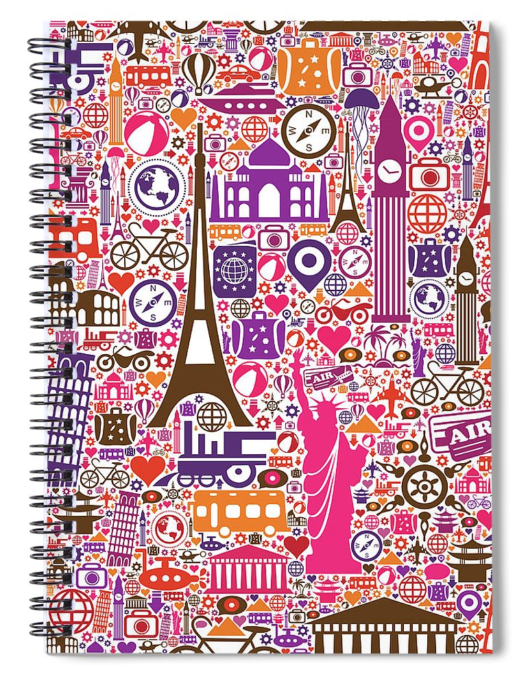 Chinese Culture Spiral Notebook featuring the digital art Travel Seamless Pattern by Liana Monica Bordei