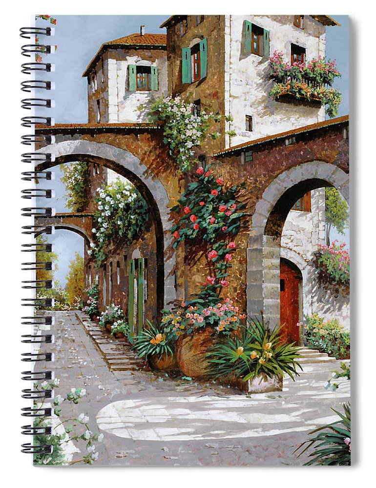 Arches Spiral Notebook featuring the painting Tre Archi by Guido Borelli