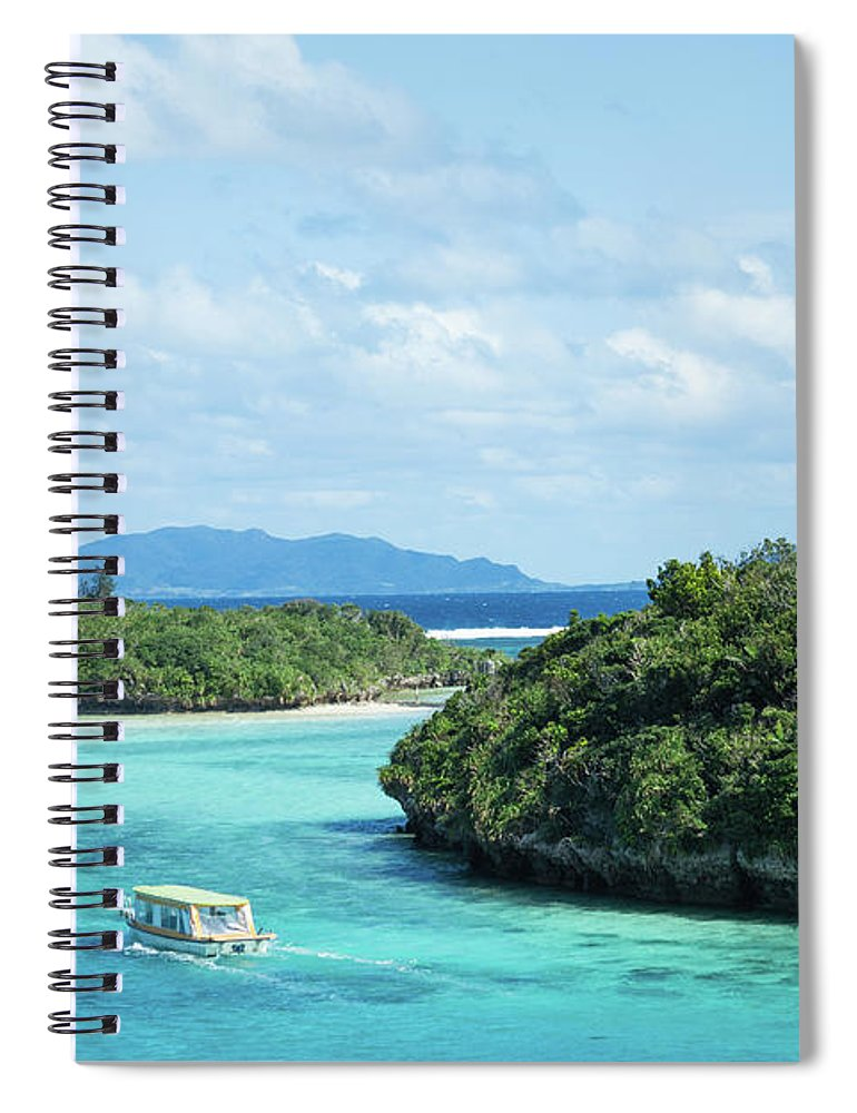 Outdoors Spiral Notebook featuring the photograph Tropical Blue Lagoon And Lush Rock by Ippei Naoi