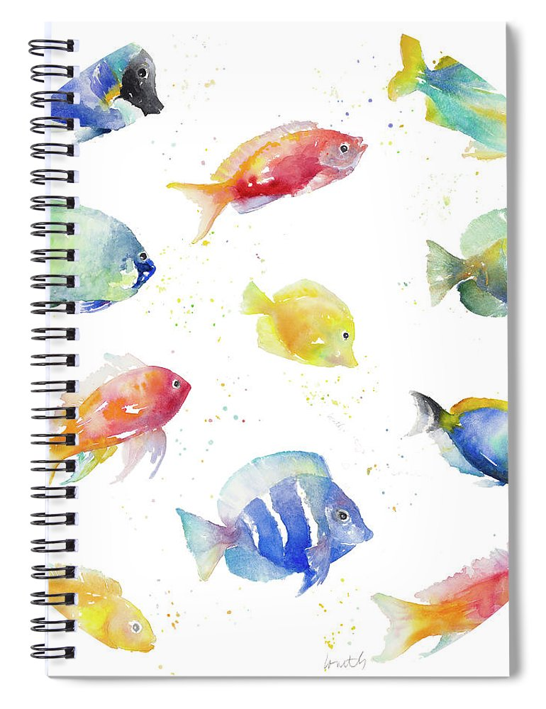 Tropical Spiral Notebook featuring the painting Tropical Fish Round by Lanie Loreth