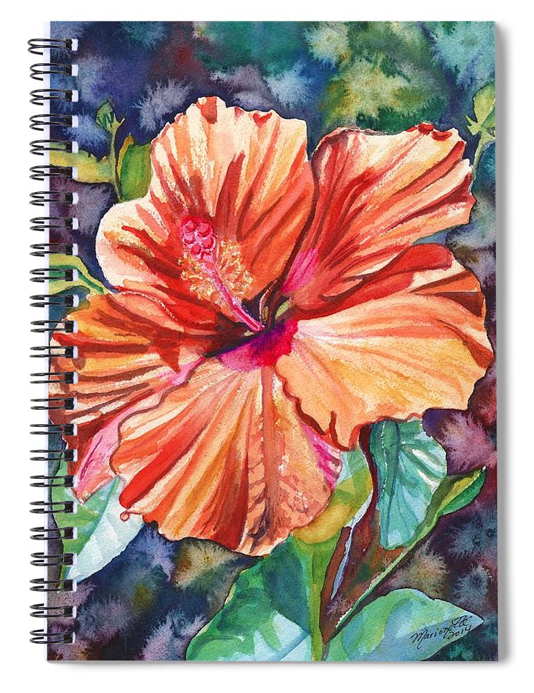 Hibiscus Spiral Notebook featuring the painting Tropical Hibiscus 5 by Marionette Taboniar