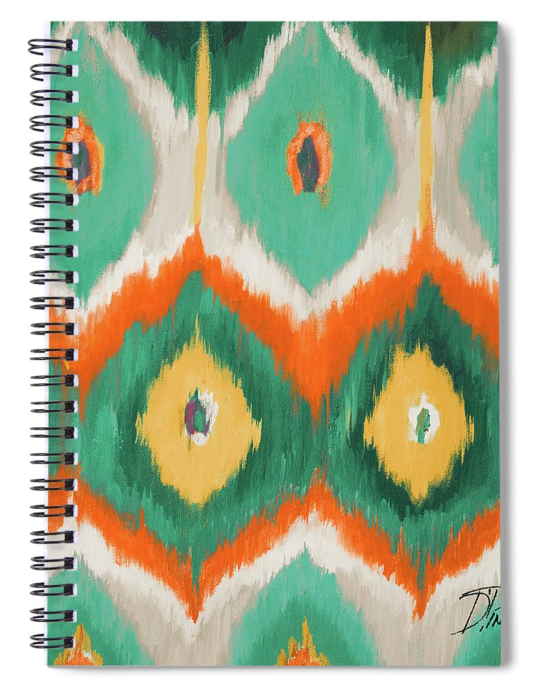Tropical Spiral Notebook featuring the painting Tropical Ikat II by Patricia Pinto