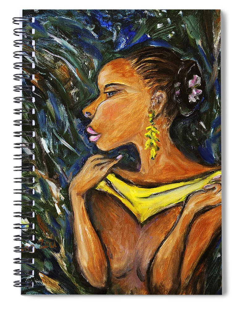 Figurative Spiral Notebook featuring the painting Tropical Shower by Xueling Zou