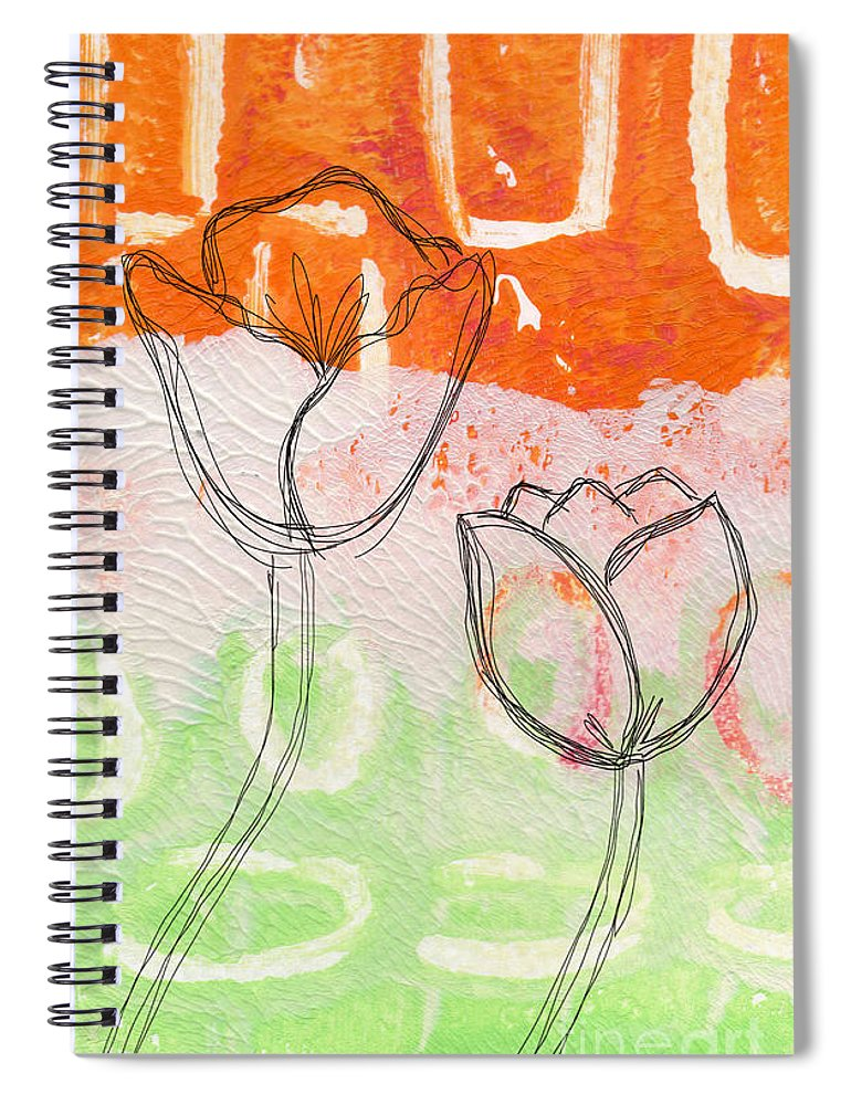 Abstract Spiral Notebook featuring the mixed media Tulips by Linda Woods