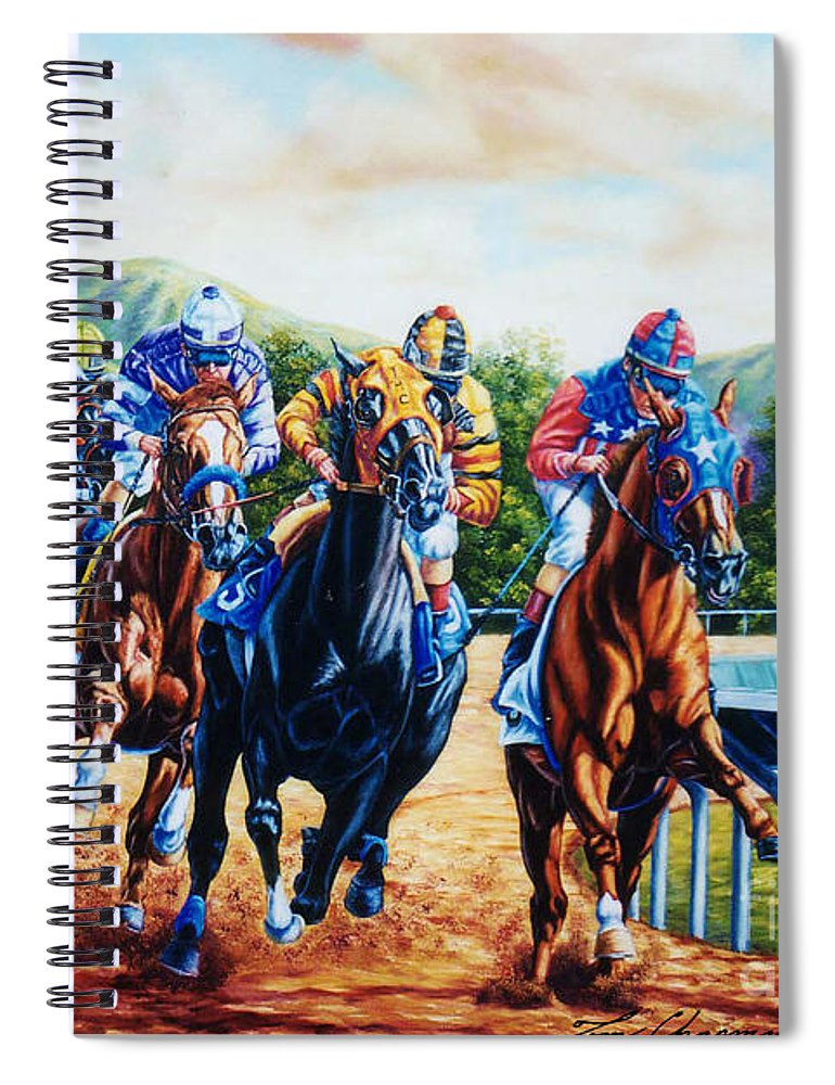 Horse Racing Spiral Notebook featuring the painting Turning For Home by Tom Chapman