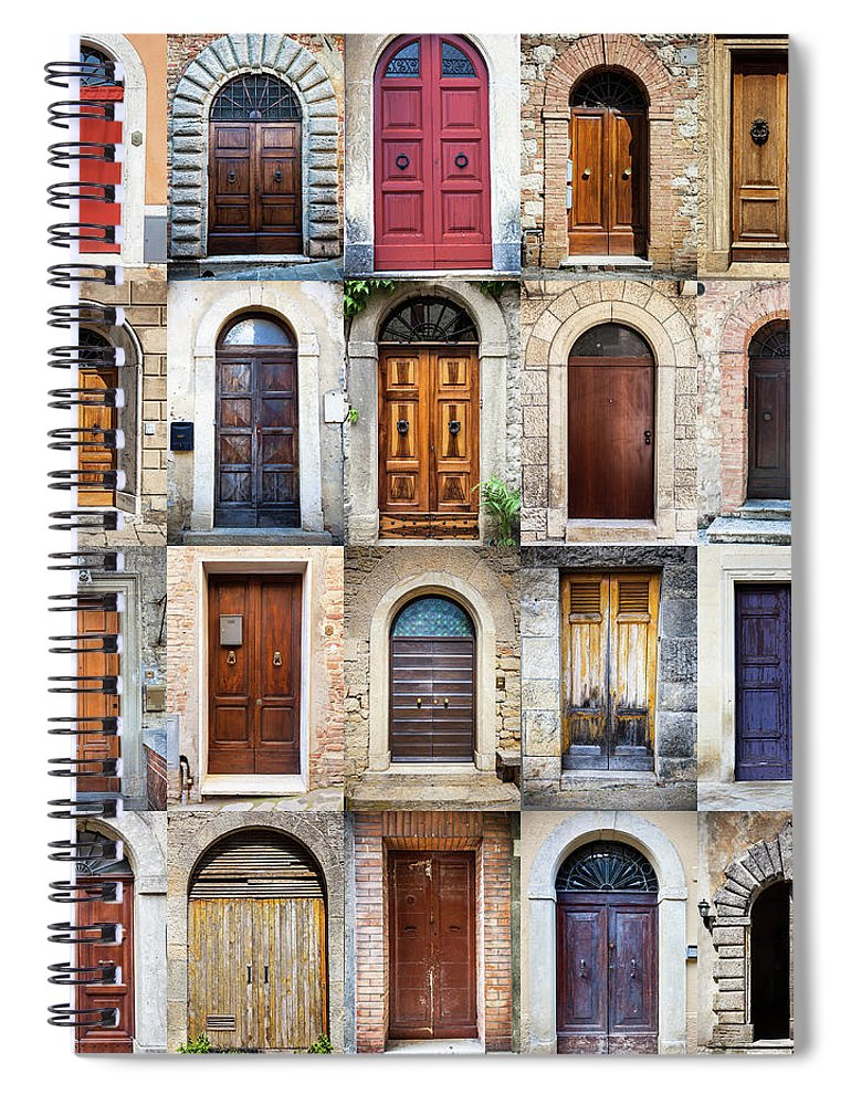 Arch Spiral Notebook featuring the photograph Tuscan Wooden Doors, Italy by Moreiso