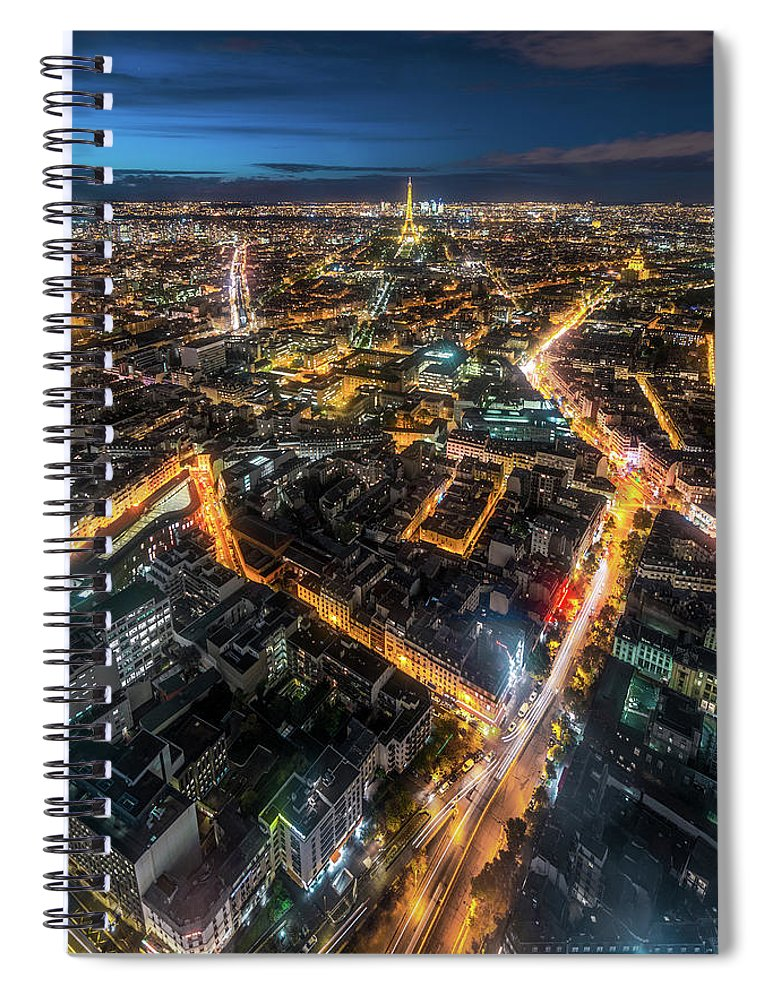 Tranquility Spiral Notebook featuring the photograph Twilight City View Of Paris by Coolbiere Photograph