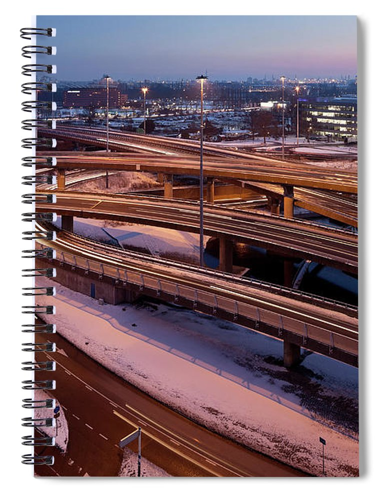 Snow Spiral Notebook featuring the photograph Twilight Traffic Circle City Of by Roelof Bos
