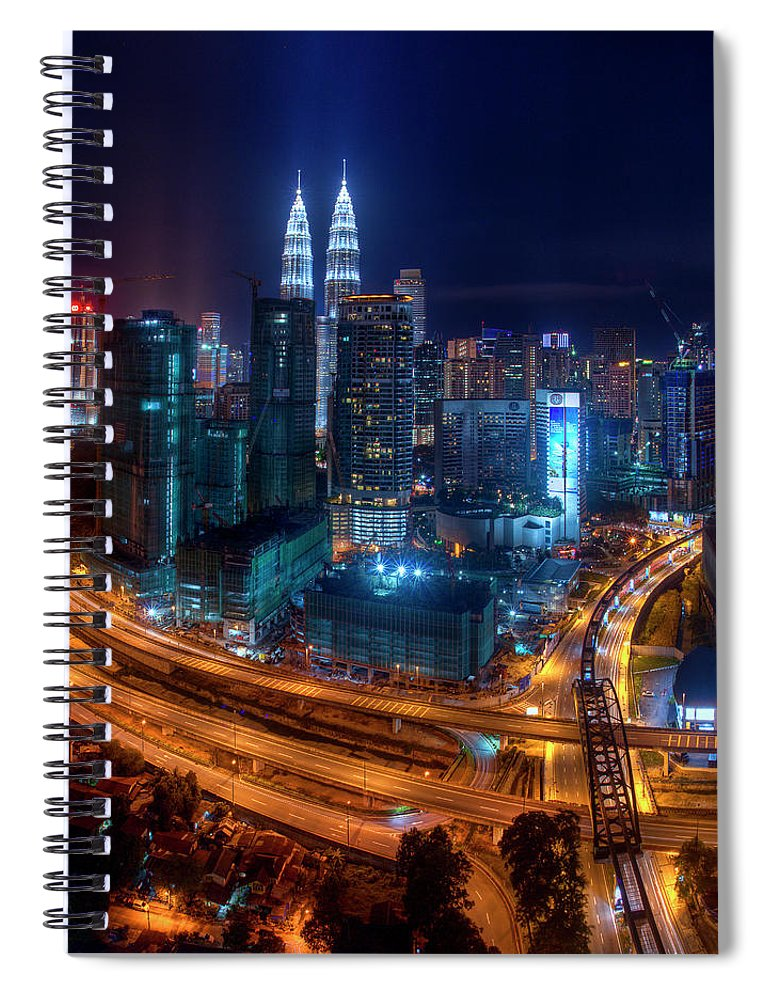 Outdoors Spiral Notebook featuring the photograph Two Direction In Klcc by Rithauddin Photographer