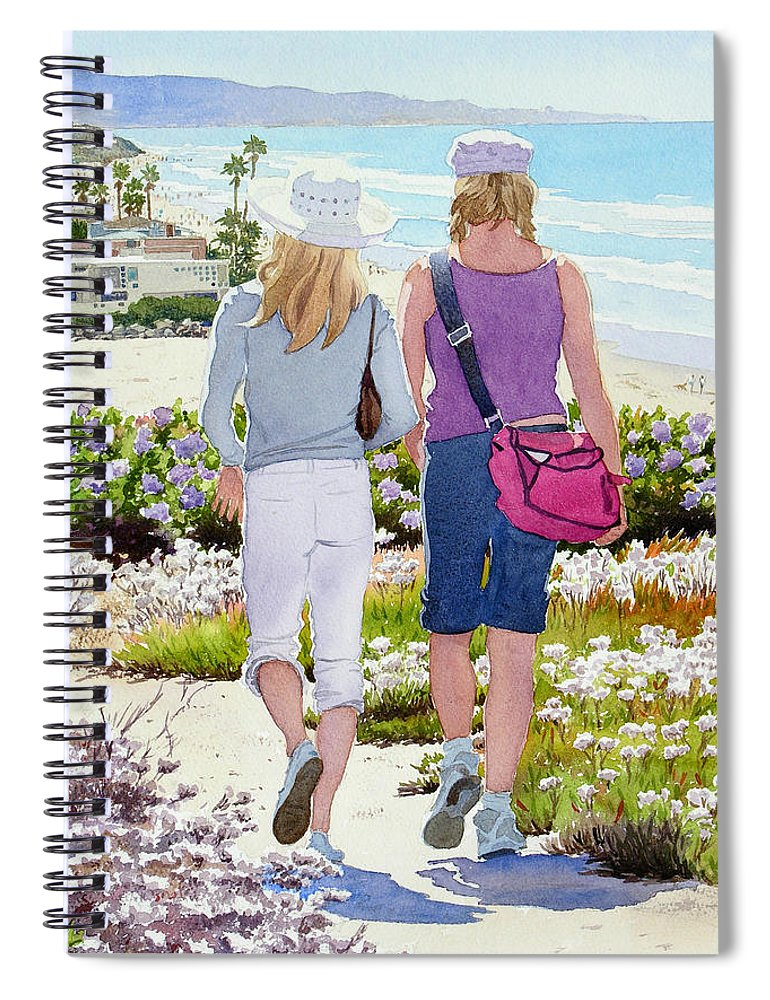 Landscape Spiral Notebook featuring the painting Two Girls At Dog Beach Del Mar by Mary Helmreich