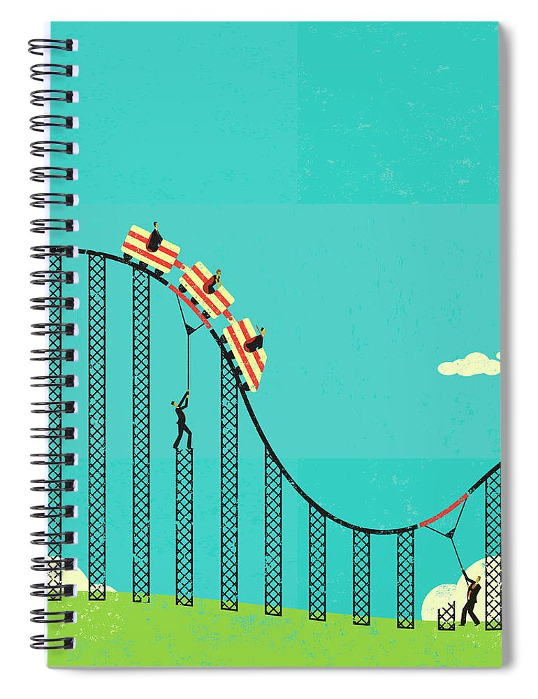Concepts & Topics Spiral Notebook featuring the digital art Two Men Supporting The Weight Of by Retrorocket
