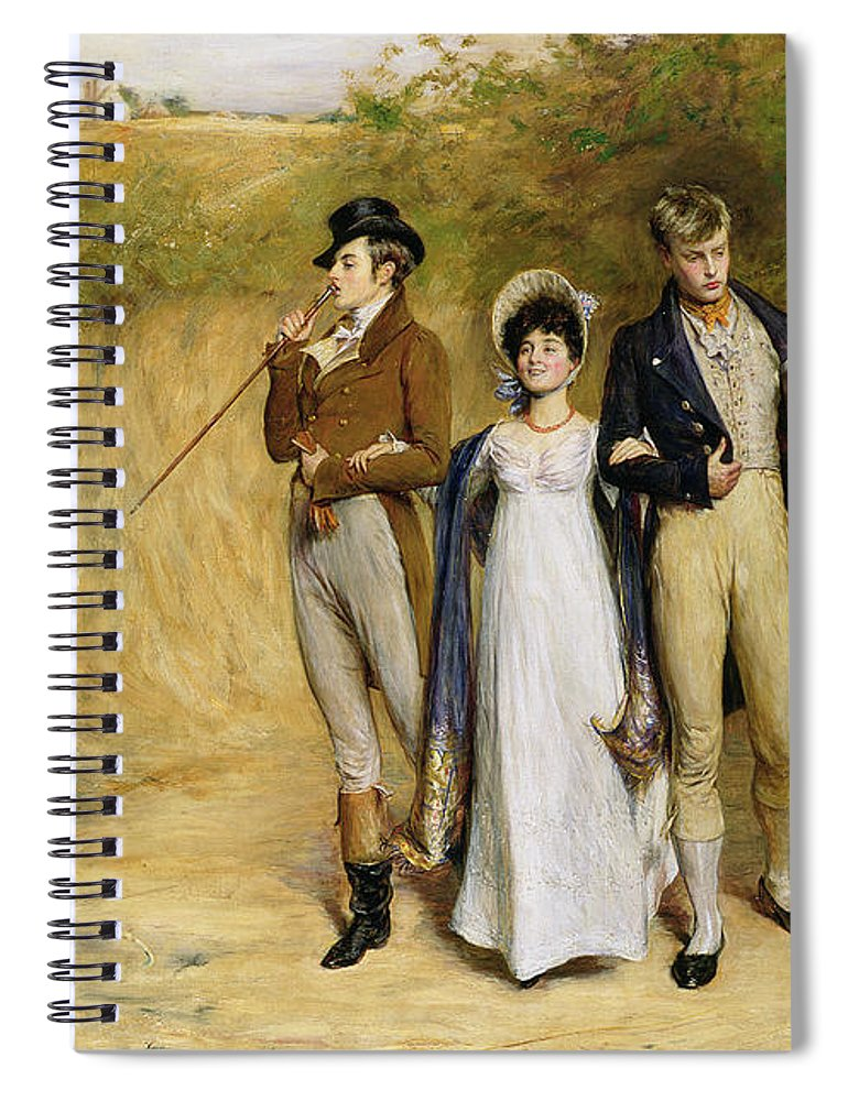 Dating Spiral Notebook featuring the painting Two Strings To Her Bow by John Pettie