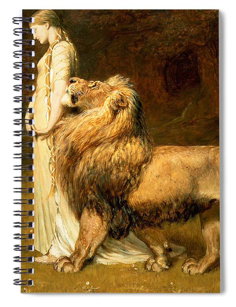 Lamb Spiral Notebook featuring the painting Una And Lion From Spensers Faerie Queene by Briton Riviere