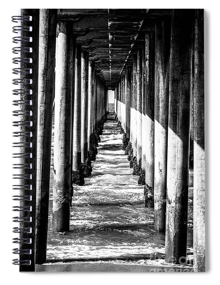America Spiral Notebook featuring the photograph Under Huntington Beach Pier Black And White Picture by Paul Velgos