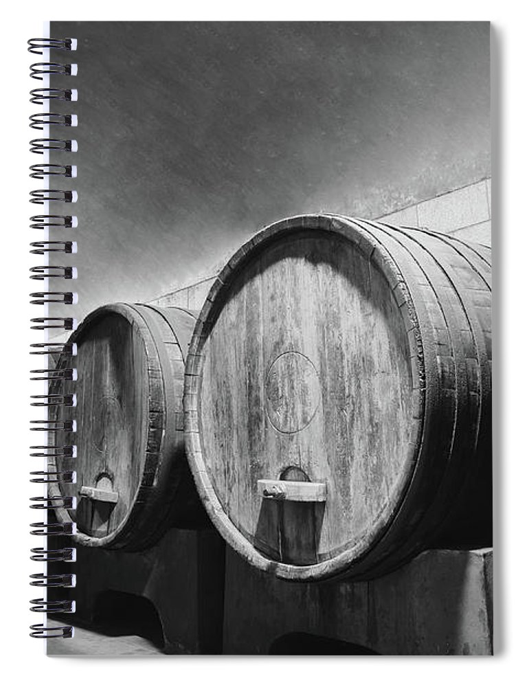 Alcohol Spiral Notebook featuring the photograph Underground Wine Cellar With Wooden by Feellife