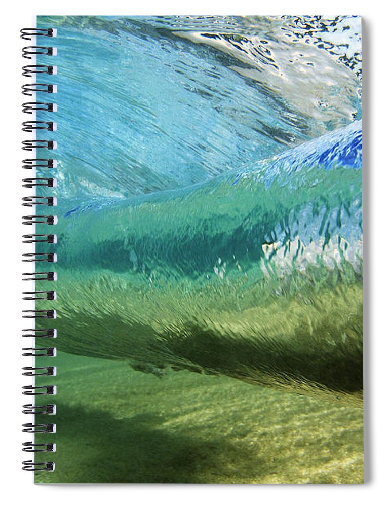 Amaze Spiral Notebook featuring the photograph Underwater Wave Curl by Vince Cavataio - Printscapes