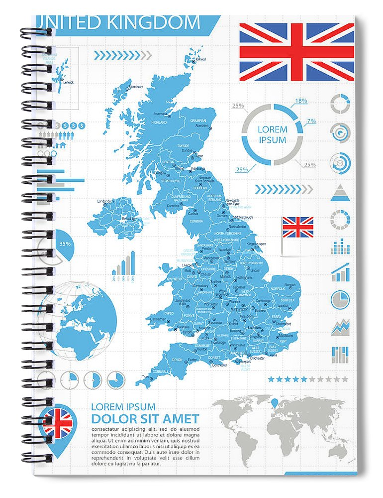 Globe Spiral Notebook featuring the digital art United Kingdom - Infographic Map - by Pop jop