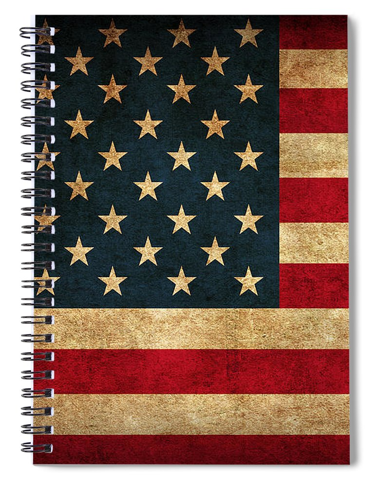 United States American Usa Flag Vintage Distressed Finish On Worn Canvas Spiral Notebook featuring the mixed media United States American USA Flag Vintage Distressed Finish on Worn Canvas by Design Turnpike