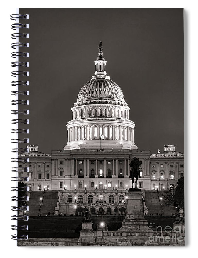 Washington Spiral Notebook featuring the photograph United States Capitol At Night by Olivier Le Queinec